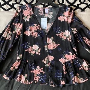 DIVIDED by H&M Black Floral Peplum Top Size 2
